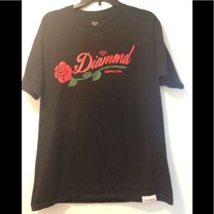 Diamond Supply Co red rose tee - large
